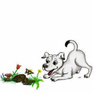 Spring-awake, puppy &Schmetterling to relief pictu Statuette