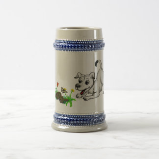 Spring-awake, puppy with butterfly beer stein