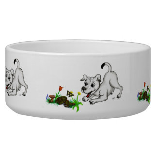 Spring-awake, puppy with butterfly bowl
