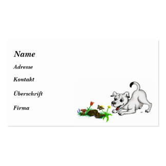 Spring-awake, puppy with butterfly business card