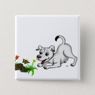 Spring-awake, puppy with butterfly button