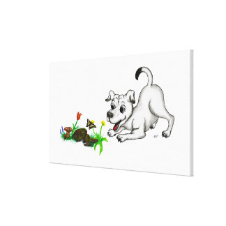 Spring-awake, puppy with butterfly canvas print