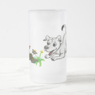 Spring-awake, puppy with butterfly frosted glass beer mug