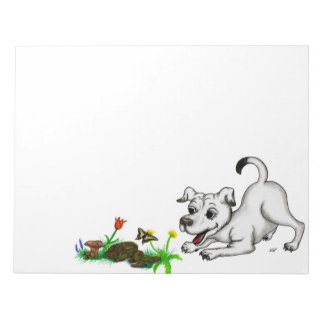 Spring-awake, puppy with butterfly notepad