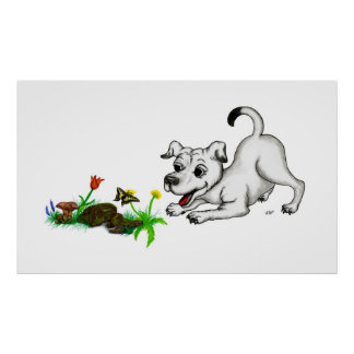 Spring-awake, puppy with butterfly poster