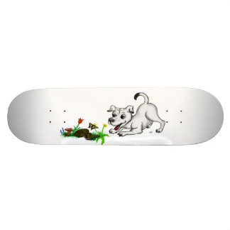 Spring-awake, puppy with butterfly skateboard