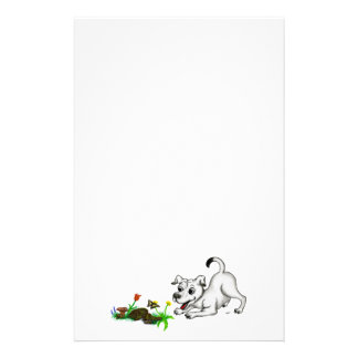 Spring-awake, puppy with butterfly stationery