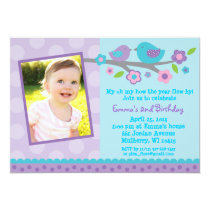 Spring Baby Bird Birthday Invitations