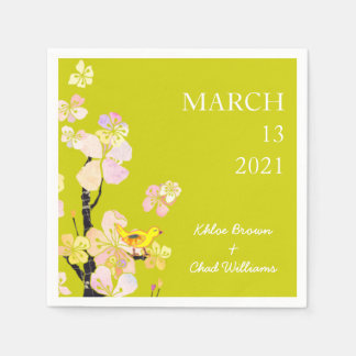 Spring Baby Bird Chartreuse Wedding Napkin