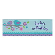 Spring Baby Bird Personalized Banner Sign