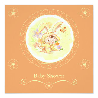 "Spring Baby Shower Rabbit Illustration 5.25"" Square Invitation Card"