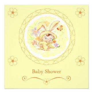 Spring Baby Shower Rabbit Illustration Announcements