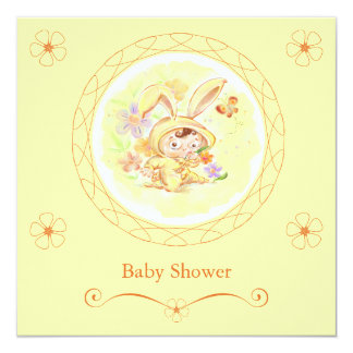 Spring Baby Shower Rabbit Illustration Announcements