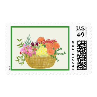 Spring Basket of Flowers Postage Stamp