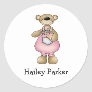 Spring Bears · Pink Dungarees Round Stickers