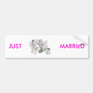 Spring Beauty Flower Just Married Bumper Sticker