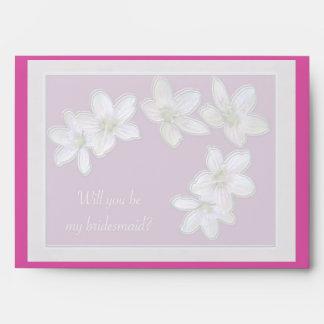 Spring Beauty Wildflower Bridesmaid Request Envelope