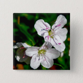 Spring Beauty Wildflower Coordinating Items Pinback Button