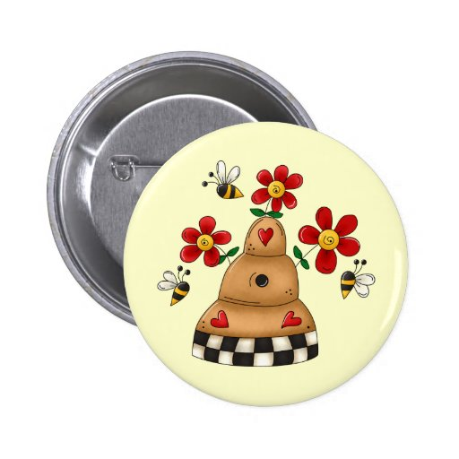 Spring Beehive Pinback Buttons