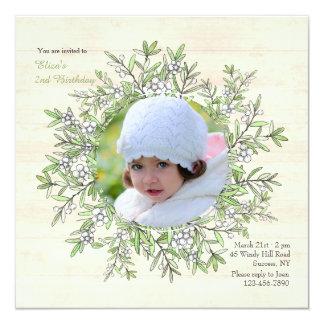 Spring Berry Wreath Photo Invitation