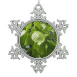 Spring Birch Leaves Green Tree Snowflake Pewter Christmas Ornament