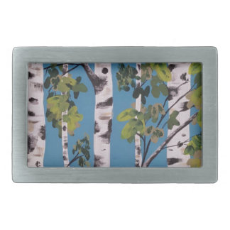 spring birch trees rectangular belt buckle