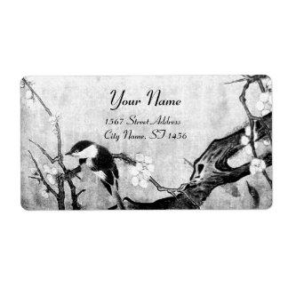 SPRING BIRD AND FLOWER TREE Black White Grey Label