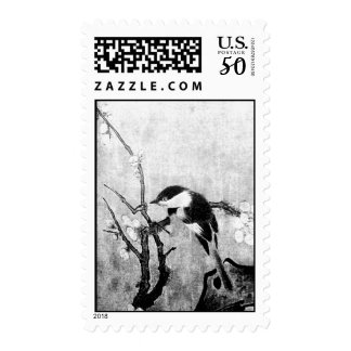 SPRING BIRD AND FLOWER TREE Black White Grey Postage