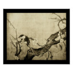 SPRING BIRD AND FLOWER TREE Brown Sepia Posters