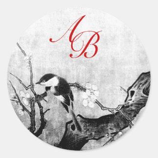 SPRING BIRD AND FLOWER TREE MONOGRAM Black White Classic Round Sticker