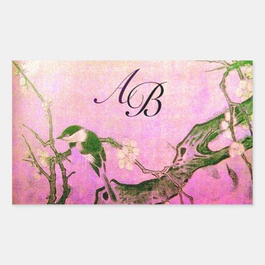 SPRING BIRD AND FLOWER TREE MONOGRAM Pink Fuchsia Rectangular Sticker