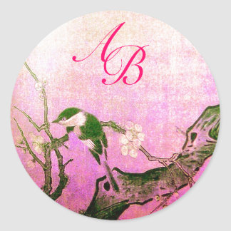 SPRING BIRD AND FLOWER TREE MONOGRAM Pink Fuchsia Classic Round Sticker