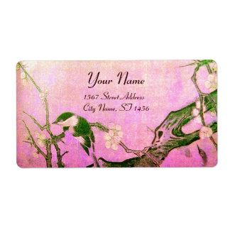 SPRING BIRD AND FLOWER TREE Pink Fuchsia Label
