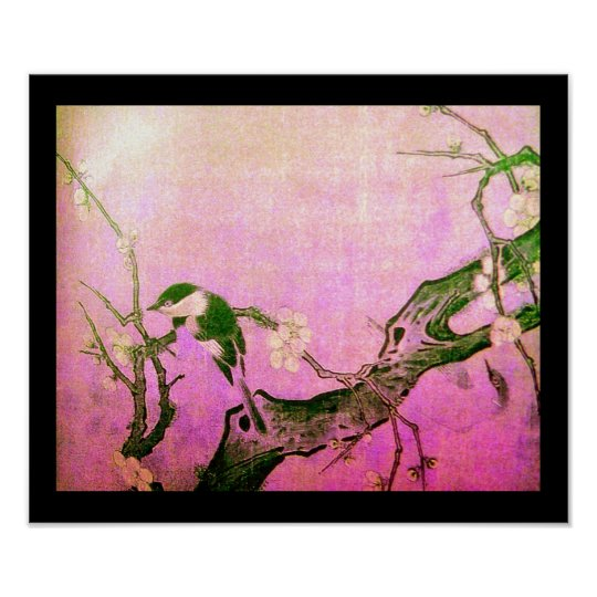 SPRING BIRD AND FLOWER TREE Pink Fuchsia Poster