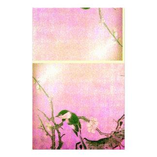 SPRING BIRD AND FLOWER TREE Pink Fuchsia Stationery