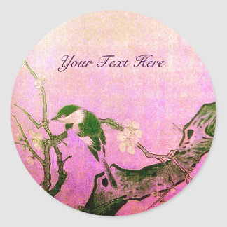 SPRING BIRD AND FLOWER TREE Pink Fuchsia Classic Round Sticker