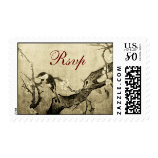 SPRING BIRD AND FLOWER TREE RSVP Brown Sepia Postage