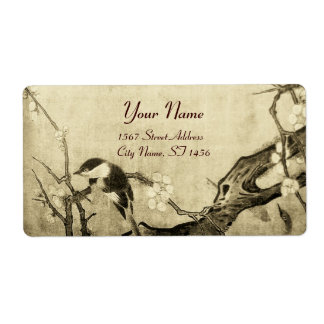 SPRING BIRD AND FLOWER TREE Sepia Brown Label