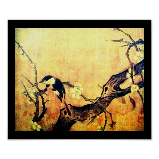 SPRING BIRD AND FLOWER TREE Yellow Brown Black Poster