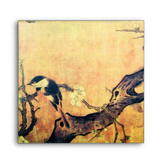 SPRING BIRD AND FLOWER TREE Yellow Brown Envelope