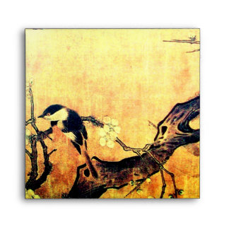 SPRING BIRD AND FLOWER TREE Yellow Brown Envelopes