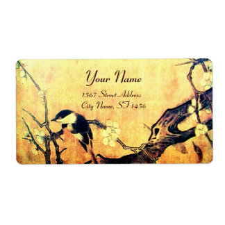 SPRING BIRD AND FLOWER TREE Yellow Brown Label
