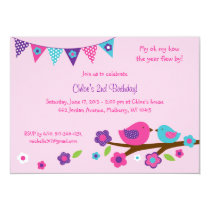 Spring Bird Birthday Invitations