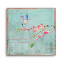 Spring Bird Floral Cherryblossom Weather Blue Envelope