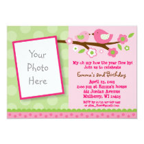 Spring Bird Flower Photo Birthday Invitations