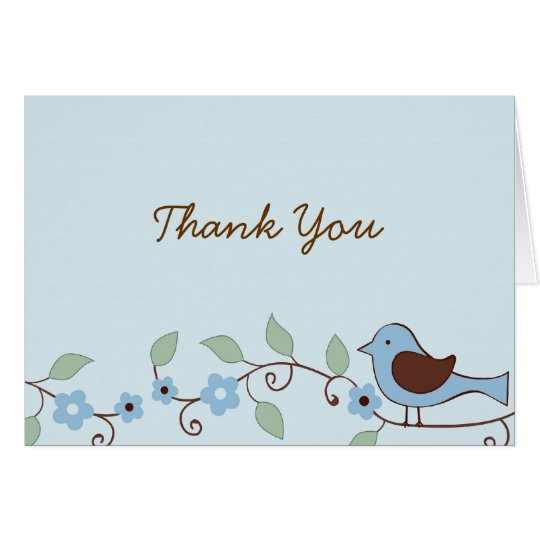 Spring Bird Flower Thank You Note Cards