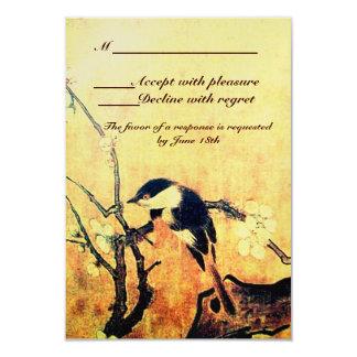 SPRING BIRD MONOGRAM ,Gold Yellow Brown Card