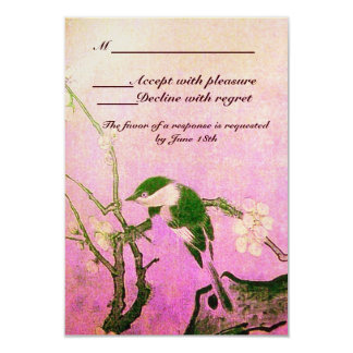 SPRING BIRD MONOGRAM Pink Fuchsia White Brown Card