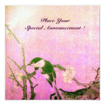 "SPRING BIRD MONOGRAM Pink Fuchsia White Brown 5.25"" Square Invitation Card"