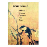SPRING BIRD ON A FLOWER TREE brown yellow Business Cards